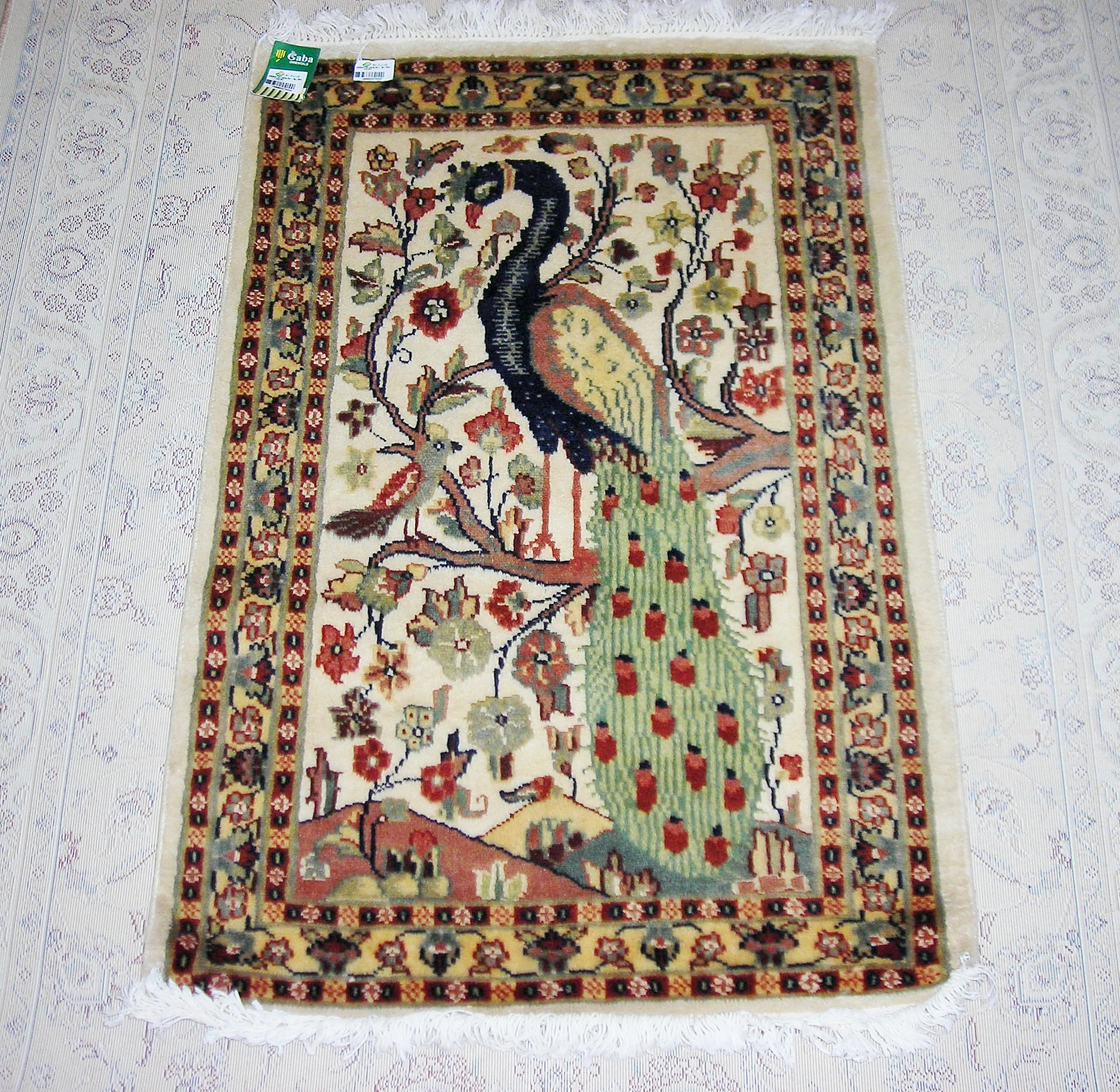 Peacock silk pictorial 2x3 ft persian rug no. 6735