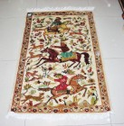 Moghal Hunting silk pictorial 2.5x4 ft persian rug no. 67331